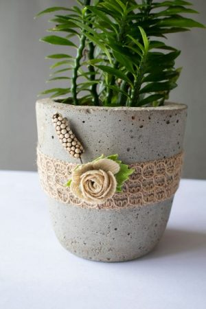 Cylindrical Concrete Planter With Jute Lace And Flowers 3 Art And Soil