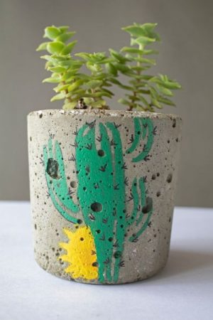 Small Hand Painted Cylindrical Concrete Planter 3 Art And Soil