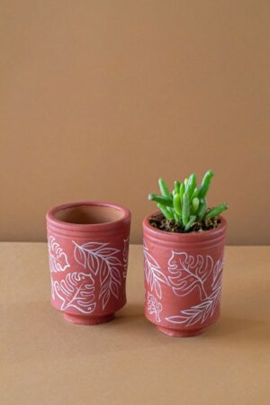 Terracotta Hand Painted Cylindrical Leafy Print Plant