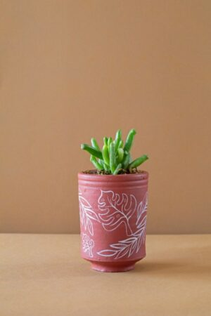 Terracotta Hand Painted Cylindrical Leafy Print Planter