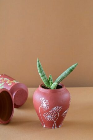 Terracotta Curvy Floral Painted Planter