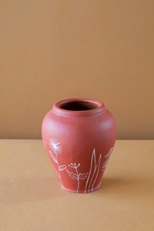 Terracotta Curvy Hand Floral Painted Planter
