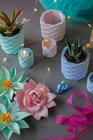 Plant In Concrete Planter And Tealight Holder Set (1)