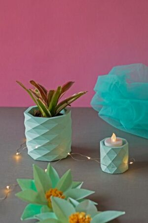 Plant In Concrete Planter And Tealight Holder Set (2)