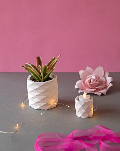 Plant In Concrete Planter And Tealight Holder Set (3)
