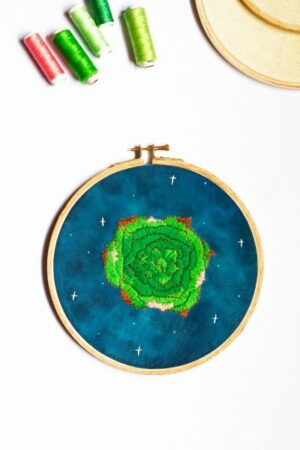 Glowing Green Floral Embroidery Hoop