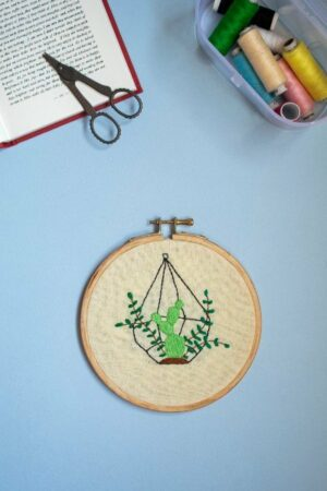 Hanging Cactus Embroidery Hoop