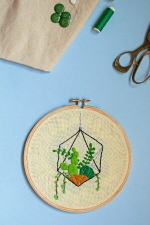 Hanging Succulents Embroidery Hoop